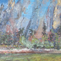 Middle Catherdral Rock oil on canvas 12 x 36